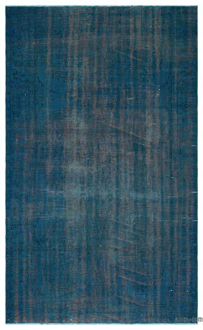 Turquoise Over-dyed Turkish Vintage Rug - 5'4'' x 8'8'' (64 in. x 104 in.)