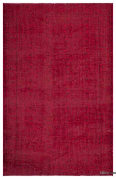 Red Over-dyed Turkish Vintage Rug - 5'11'' x 9'2'' (71 in. x 110 in.)