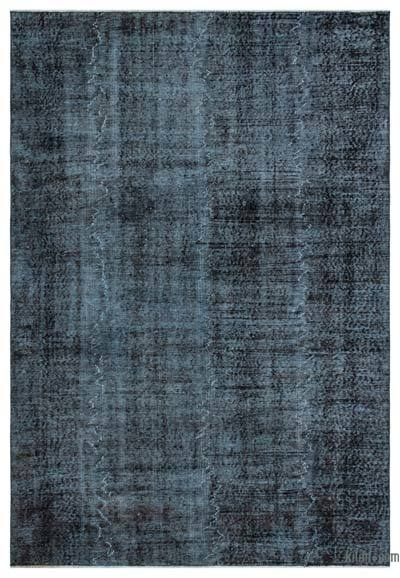 Black Over-dyed Turkish Vintage Rug - 5'8'' x 8'2'' (68 in. x 98 in.)