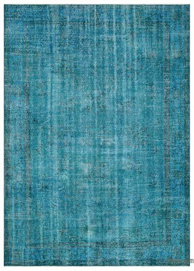 Turquoise Over-dyed Turkish Vintage Rug - 7'7'' x 10'4'' (91 in. x 124 in.)