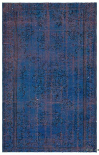 Blue Over-dyed Turkish Vintage Rug - 5'3'' x 8'5'' (63 in. x 101 in.)