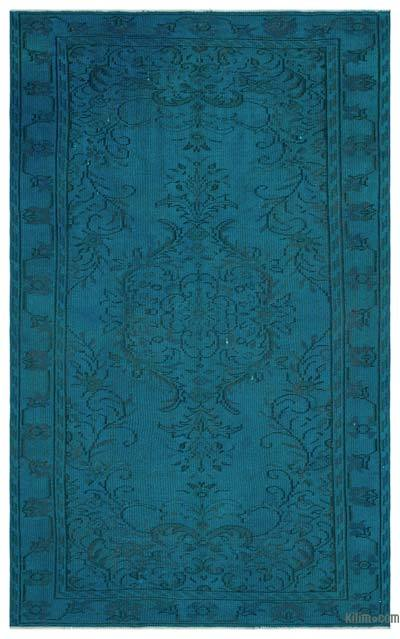 Turquoise Over-dyed Turkish Vintage Rug - 5'3'' x 8'6'' (63 in. x 102 in.)