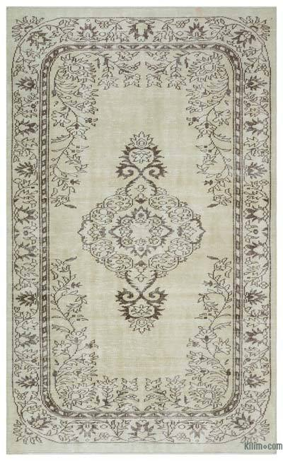 Beige Over-dyed Turkish Vintage Rug - 5'6'' x 9'1'' (66 in. x 109 in.)