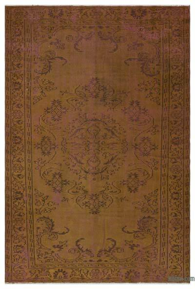 Brown Over-dyed Turkish Vintage Rug - 5'3'' x 7'9'' (63 in. x 93 in.)