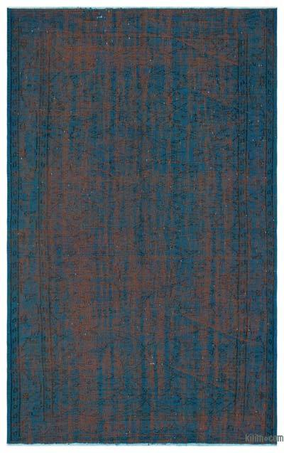 Turquoise Over-dyed Turkish Vintage Rug - 5'4'' x 8'6'' (64 in. x 102 in.)