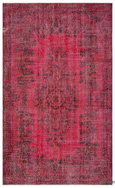Red Over-dyed Turkish Vintage Rug - 5'9'' x 9'5'' (69 in. x 113 in.)