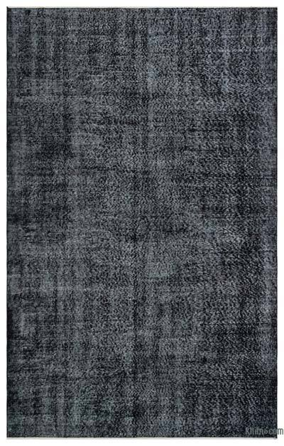 Black Over-dyed Turkish Vintage Rug - 5'7'' x 8'10'' (67 in. x 106 in.)