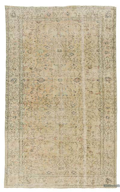 Beige Turkish Vintage Area Rug - 5'11'' x 9'8'' (71 in. x 116 in.)