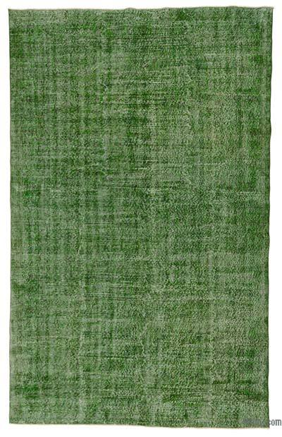 Green Over-dyed Turkish Vintage Rug - 6'5'' x 10'2'' (77 in. x 122 in.)