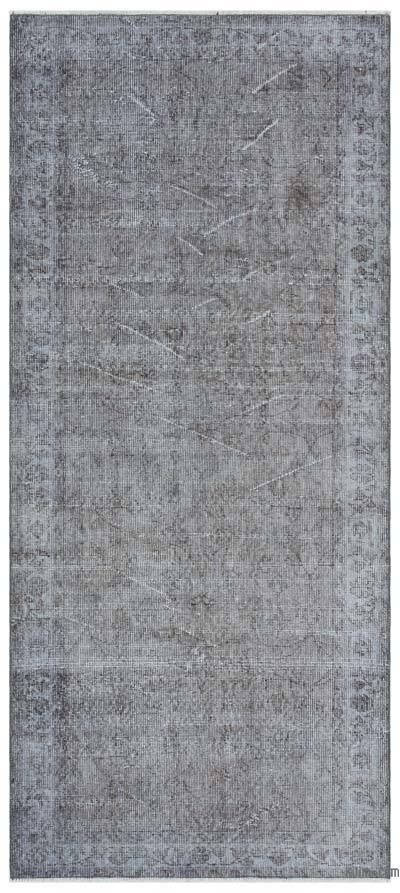 Grey Over-dyed Turkish Vintage Rug - 3'1'' x 6'11'' (37 in. x 83 in.)