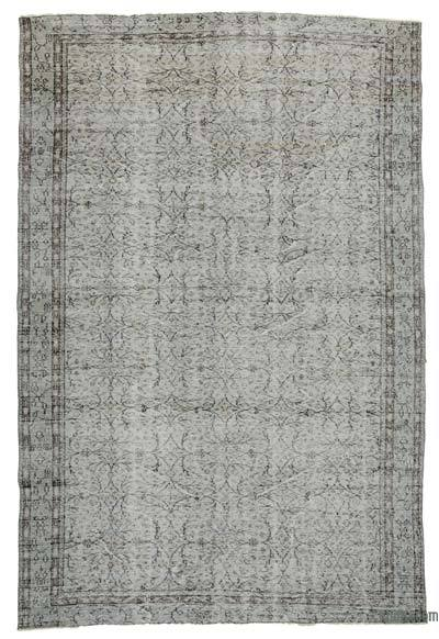 Grey Over-dyed Turkish Vintage Rug - 6'5'' x 9'7'' (77 in. x 115 in.)