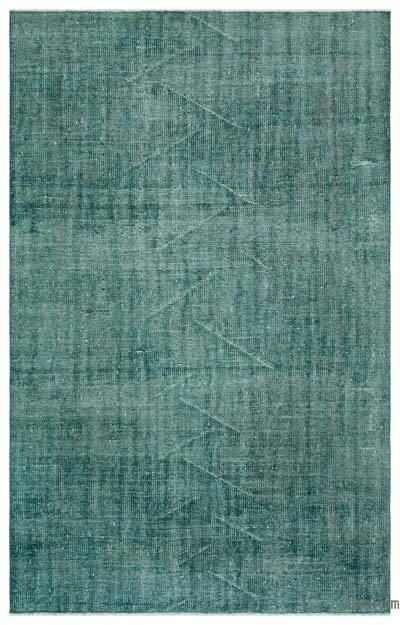 Green Over-dyed Turkish Vintage Rug - 5'5'' x 8'6'' (65 in. x 102 in.)