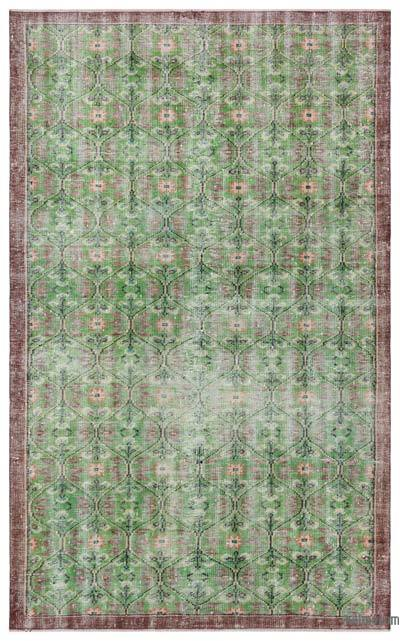 Green Turkish Vintage Rug - 5'5'' x 8'10'' (65 in. x 106 in.)