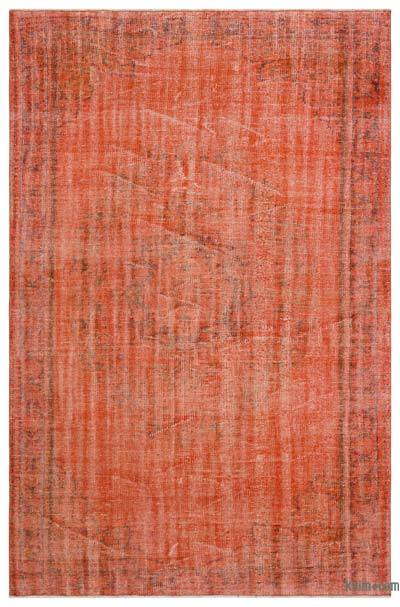 Orange Over-dyed Turkish Vintage Rug - 5'8'' x 8'7'' (68 in. x 103 in.)