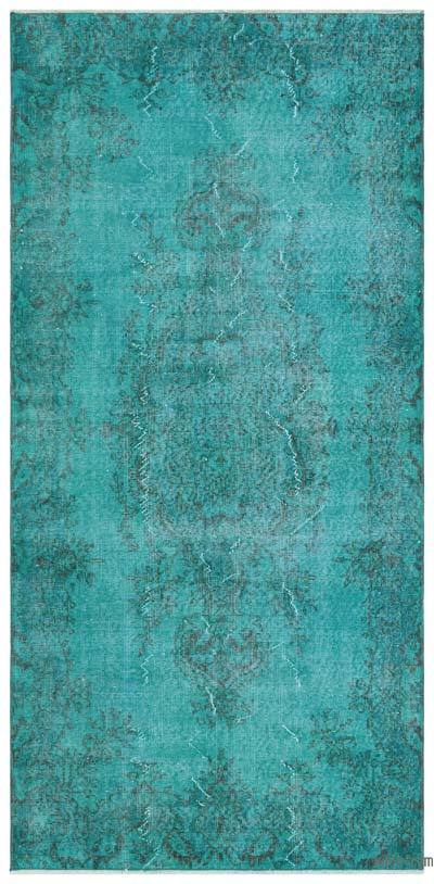 Turquoise Over-dyed Turkish Vintage Rug - 3'7'' x 7'4'' (43 in. x 88 in.)