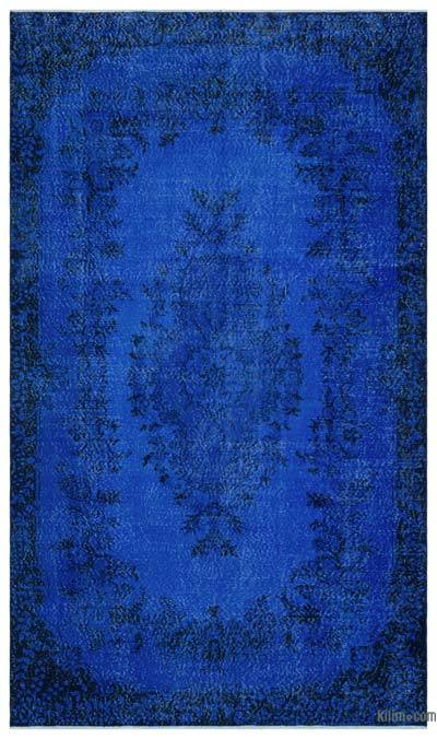 Blue Over-dyed Turkish Vintage Rug - 5'8'' x 9'8'' (68 in. x 116 in.)