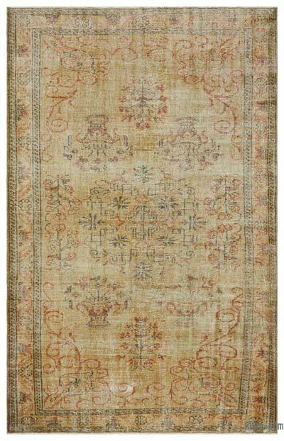 Brown Over-dyed Turkish Vintage Rug - 5'10'' x 9' (70 in. x 108 in.)