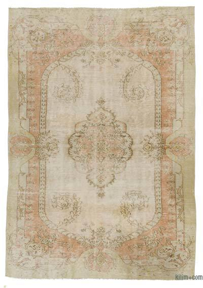 Beige Turkish Vintage Rug - 6'3'' x 8'11'' (75 in. x 107 in.)