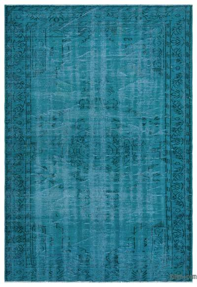 Turquoise Over-dyed Turkish Vintage Rug - 6'5'' x 9'3'' (77 in. x 111 in.)