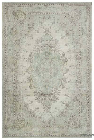 Beige Over-dyed Turkish Vintage Rug - 7'1'' x 10'8'' (85 in. x 128 in.)