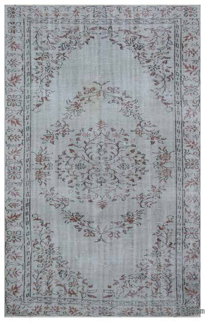 Grey Over-dyed Turkish Vintage Rug - 5'11'' x 9'3'' (71 in. x 111 in.)