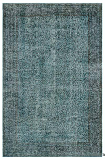 Light Blue Over-dyed Turkish Vintage Rug - 6'3'' x 9'9'' (75 in. x 117 in.)