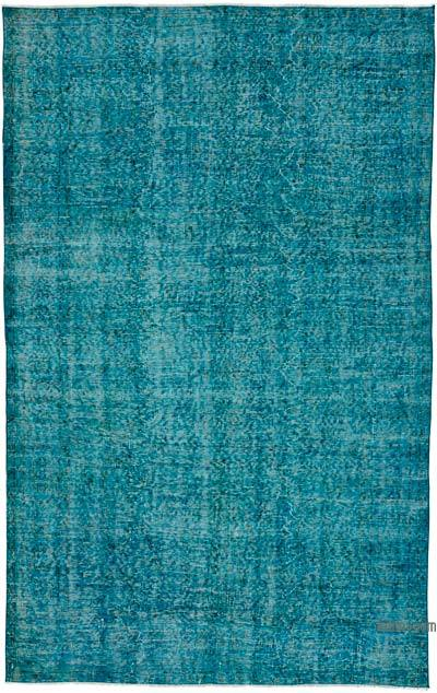 Turquoise Over-dyed Turkish Vintage Rug - 5'5'' x 8'6'' (65 in. x 102 in.)
