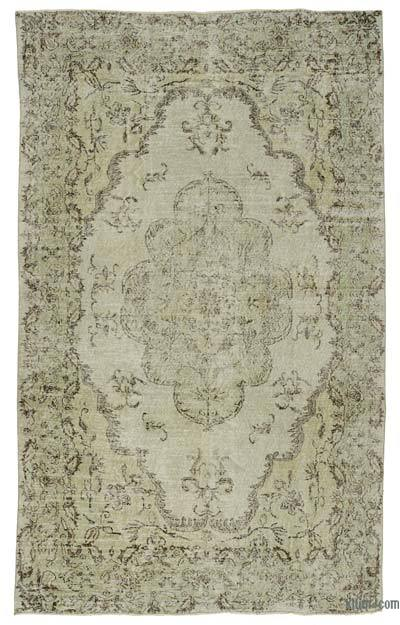 Beige Over-dyed Turkish Vintage Rug - 6'4'' x 10'4'' (76 in. x 124 in.)