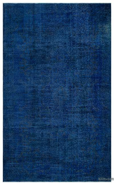 Blue Over-dyed Turkish Vintage Rug - 6'1'' x 10'1'' (73 in. x 121 in.)