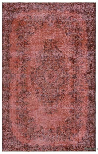 Red Over-dyed Turkish Vintage Rug - 5'9'' x 9'1'' (69 in. x 109 in.)