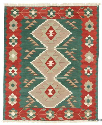 Green, Red New Turkish Kilim Rug - 5' x 6' (60 in. x 72 in.)