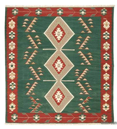 Green, Red New Turkish Kilim Rug - 9'2'' x 10'1'' (110 in. x 121 in.)