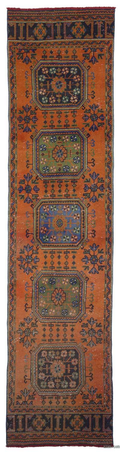 Orange Vintage Turkish Runner Rug
