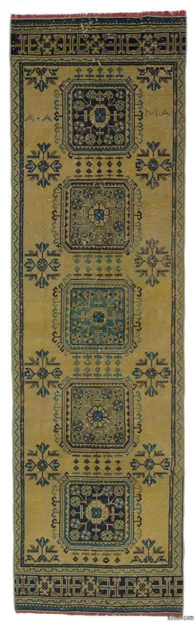 Yellow Vintage Turkish Runner Rug