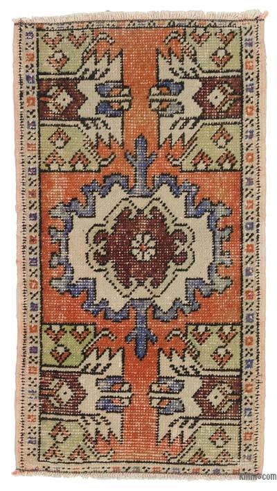 "Turkish Vintage Area Rug - 1'7"" x 2'11"" (19 in. x 35 in.)"