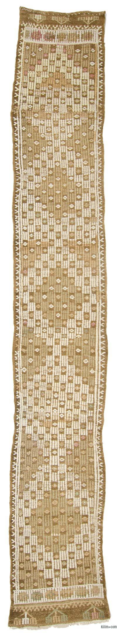 Beige, Brown Vintage Turkish Jijim Runner