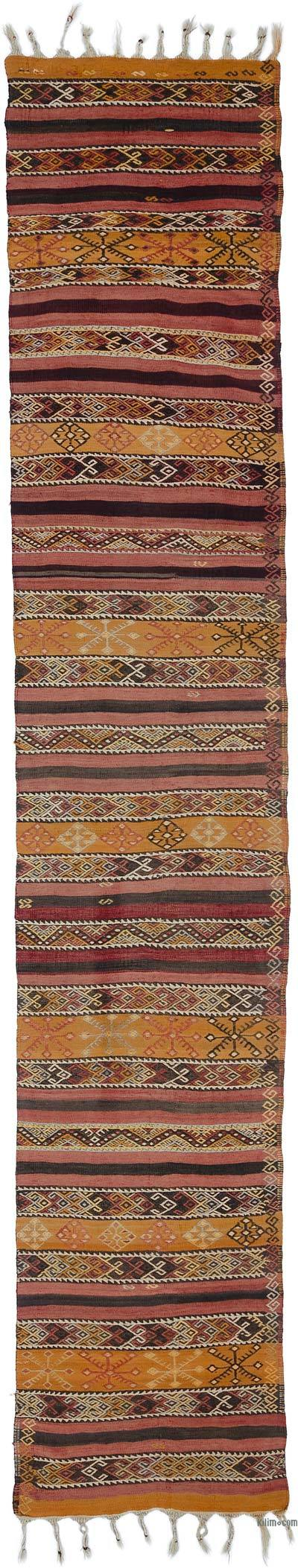 Red, Orange Vintage Malatya Kilim Runner