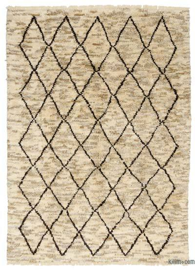 Beige, Brown New Turkish Tulu Rug - 7'7'' x 10'4'' (91 in. x 124 in.)