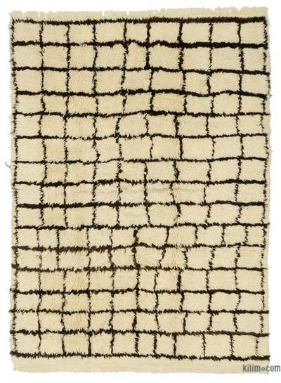 Beige, Brown New Turkish Tulu Rug - 6'11'' x 9'5'' (83 in. x 113 in.)