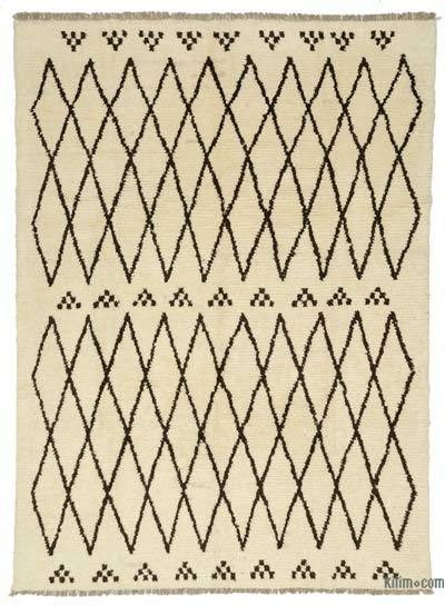 Beige, Brown New Turkish Tulu Rug - 8'8'' x 11'8'' (104 in. x 140 in.)
