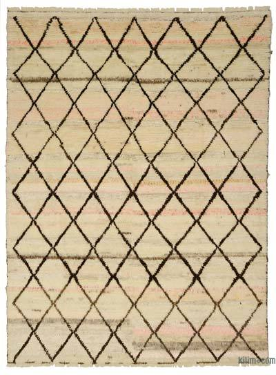 Beige, Brown New Turkish Tulu Rug - 9' x 12' (108 in. x 144 in.)