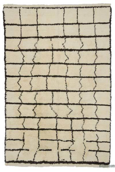 Beige, Brown New Turkish Tulu Rug - 6'8'' x 10' (80 in. x 120 in.)