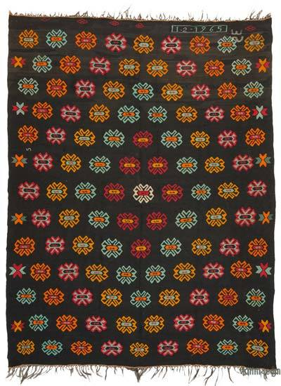 Brown, Multicolor Vintage Turkish Kilim Rug