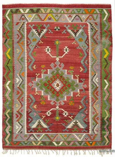 Red, Multicolor Vintage Ushak Kilim Rug