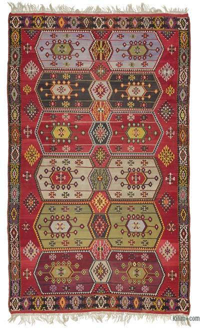 Red, Multicolor Vintage Sivas Kilim Rug