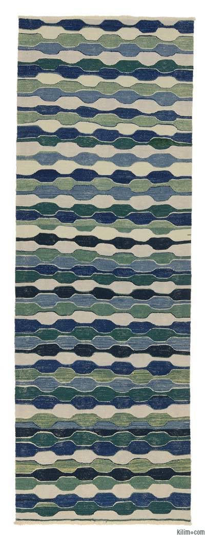 Blue, Green New Turkish Kilim Runner
