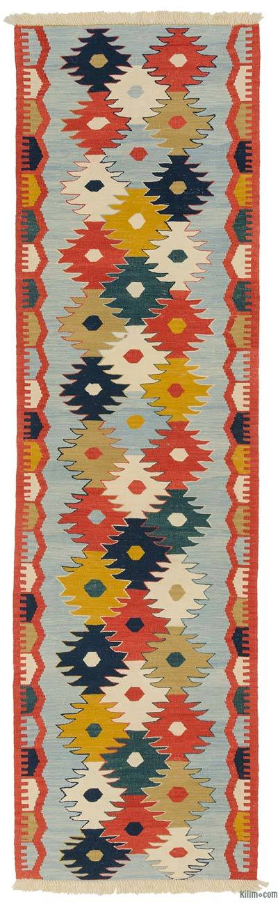 Light Blue, Multicolor New Turkish Kilim Runner