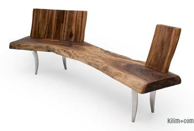 Unique Walnut Slab Bench with Backrest
