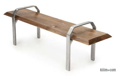 Walnut Coffee Table with Cast Aluminium Legs