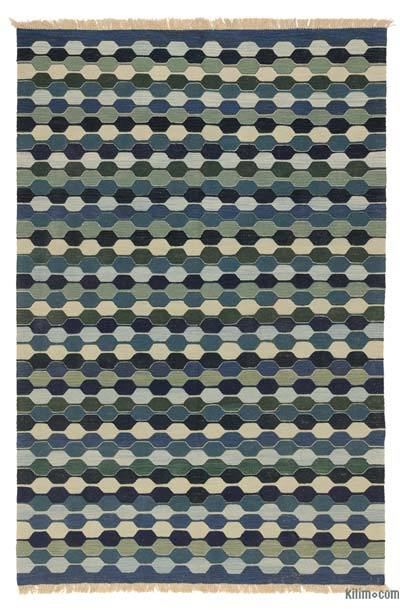 Blue, Green New Turkish Kilim Rug